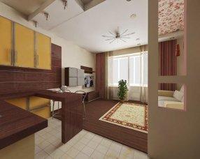 Дизайн интерьера квартиры-студии 23 кв. м прямоугольной формы