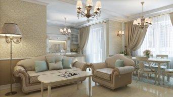 Дизайн квартиры студии в стиле классика — Интерьеры квартир, домов