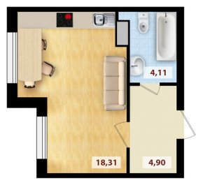 Квартира-студия, планировка #1