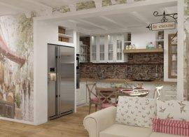 Квартира студия в стиле прованс дизайн - Дизайн маленькой кухни в